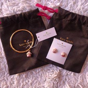 Kate Spade Matching Cupcake Earrings + Bracelet